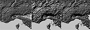 An example of a high-resolution GTOPO30, a downsampled image, and the combination of the two using bump resolution.
